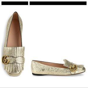 Gucci Marmont Kiltie loafers sz 37 gold metallic